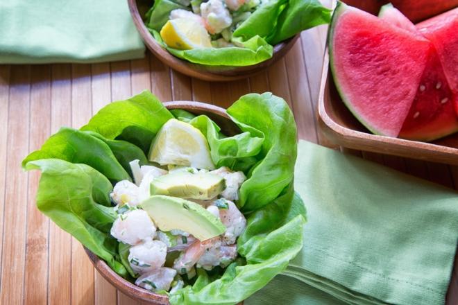 Fresh, summer Shrimp Roll Lettuce Wraps with Watermelon