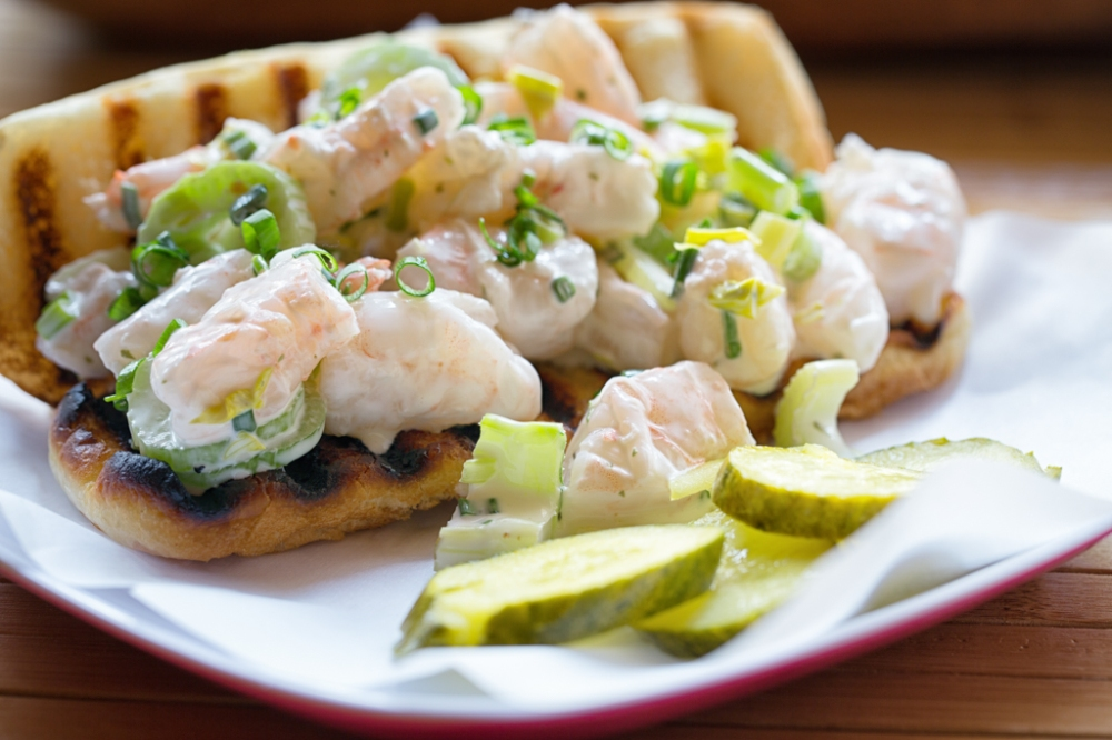 Shrimp Rolls with deli pickles