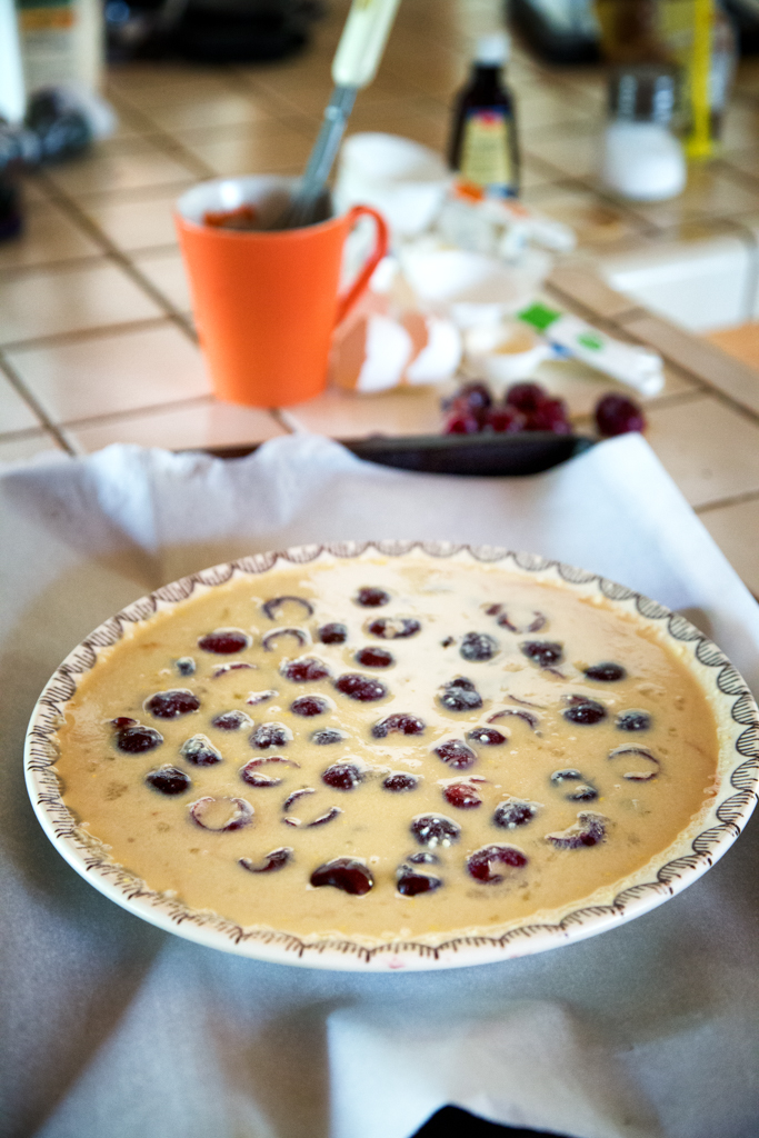 Flan poured over the cherries