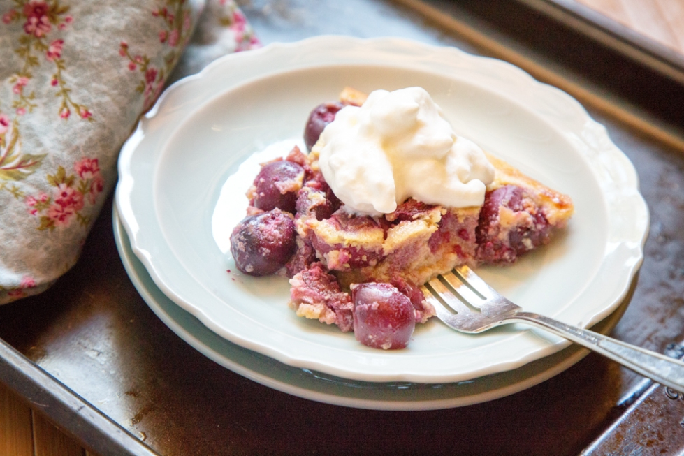 Cherry Clafoutis with Whipped Cream