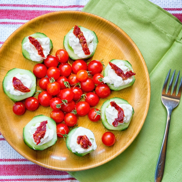 Blue Cheese Stuffed Cucumbers with Smoked Sun Dried Tomatoes