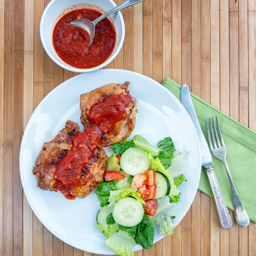 Homemade Barbecue Sauce with grilled chicken