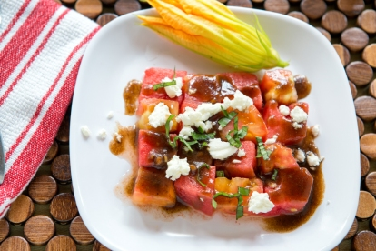 Watermelon and Heirloom Tomato Salad with Goat Cheese and Balsamic Dressing