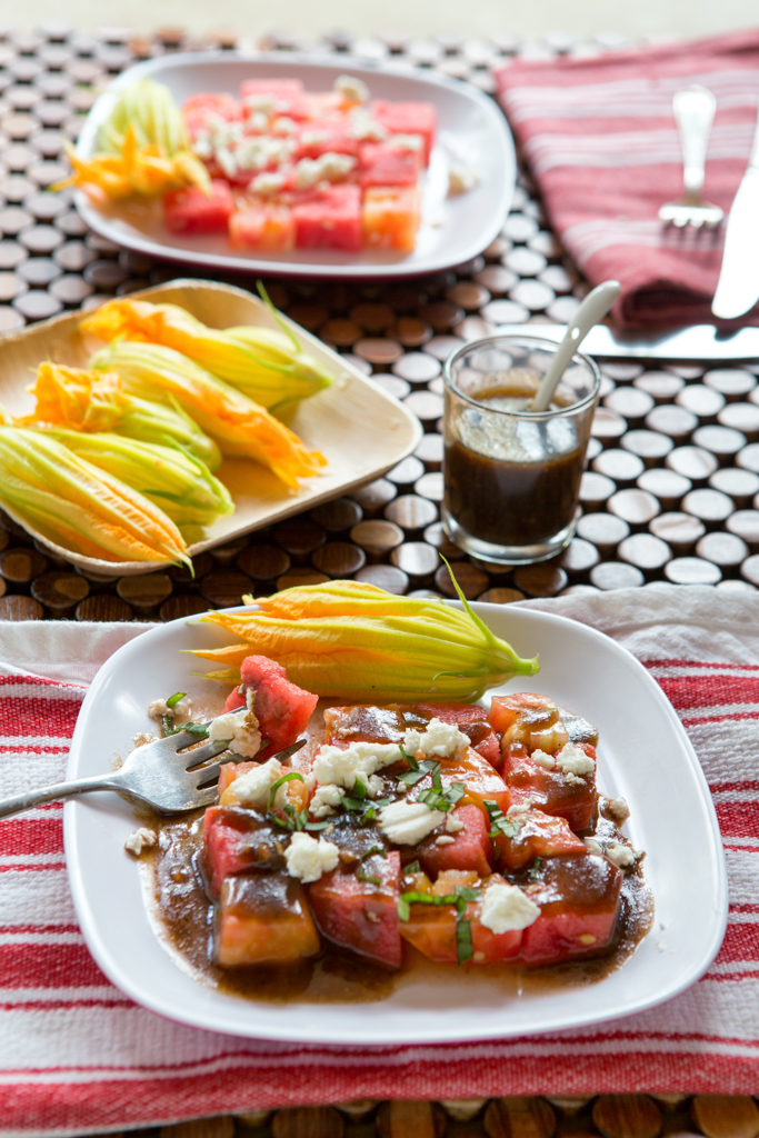 Watermelon and tomato salad for two