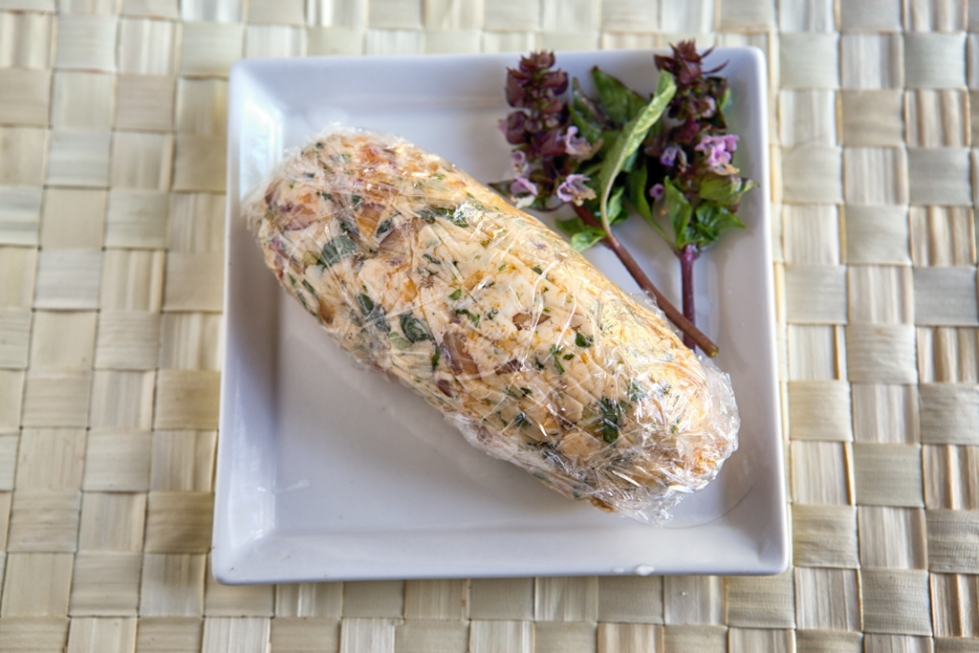 Herb Butter with basil, wrapped up and ready to refrigerate