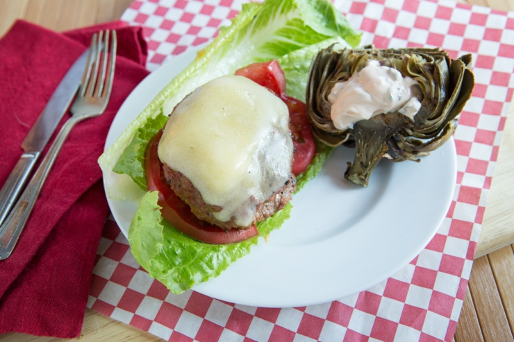 Better Butter Burgers with artichoke on the side