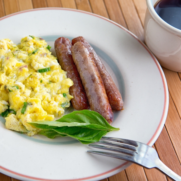 Scrambled eggs with Herb Butter and cheese.