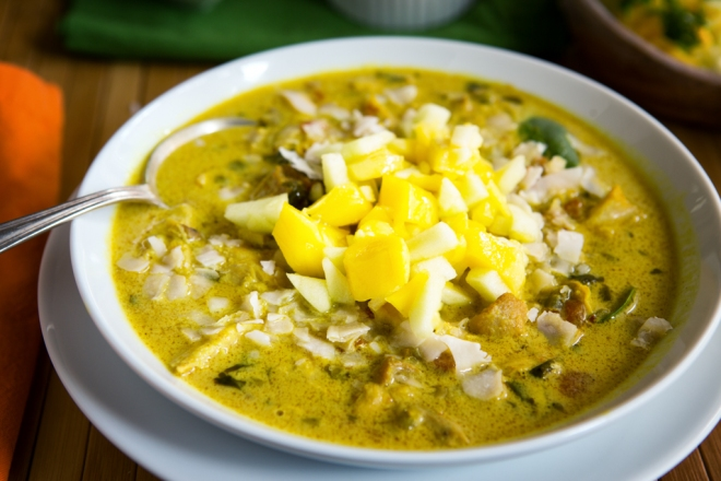 Top the soup with apple and mango salsa