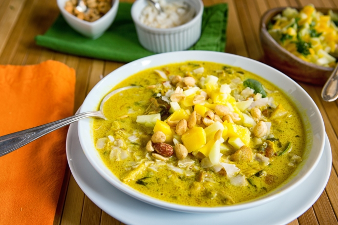 Mulligatawny Soup with coconut, apple and mango salsa, and peanuts