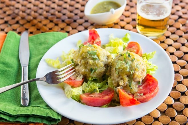 Meatballs with Chile Verde Sauce
