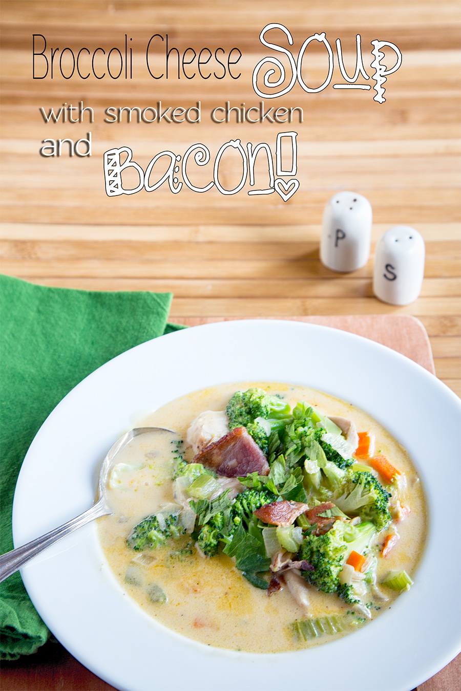 Broccoli Cheese Soup with Smoked Chicken and Bacon
