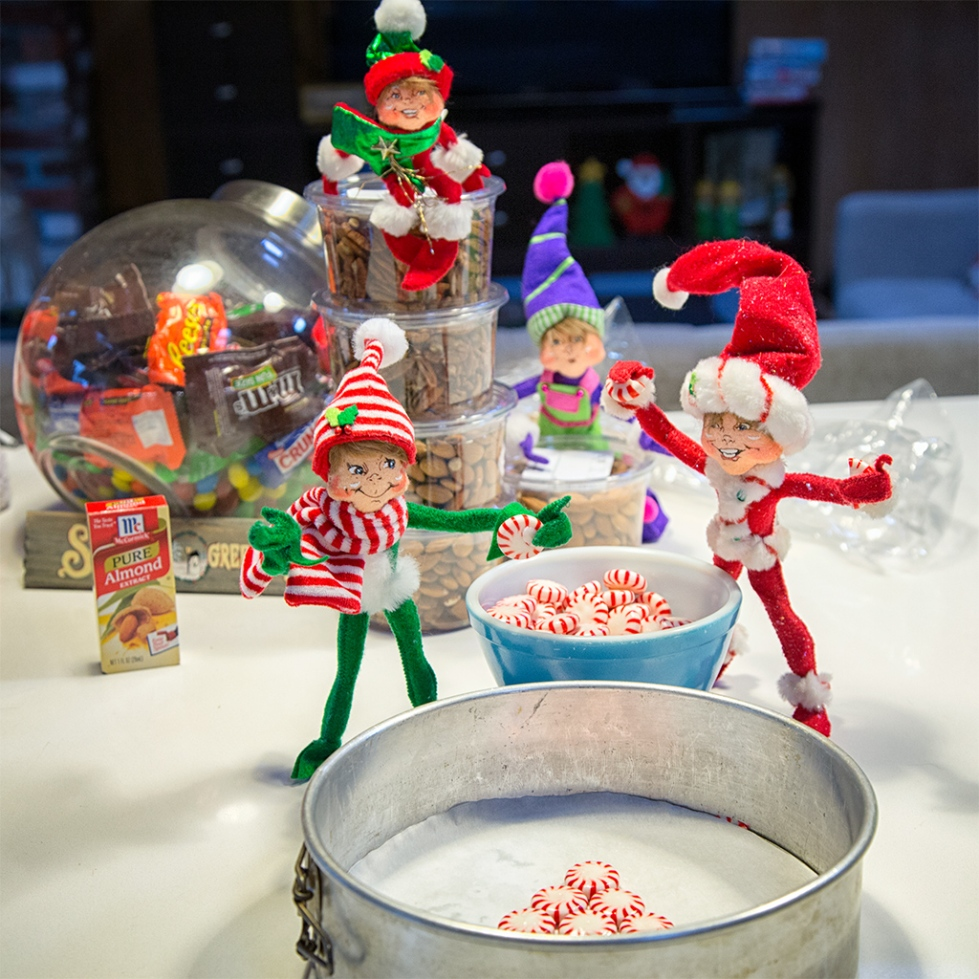 Elves helping place the mints in my pan