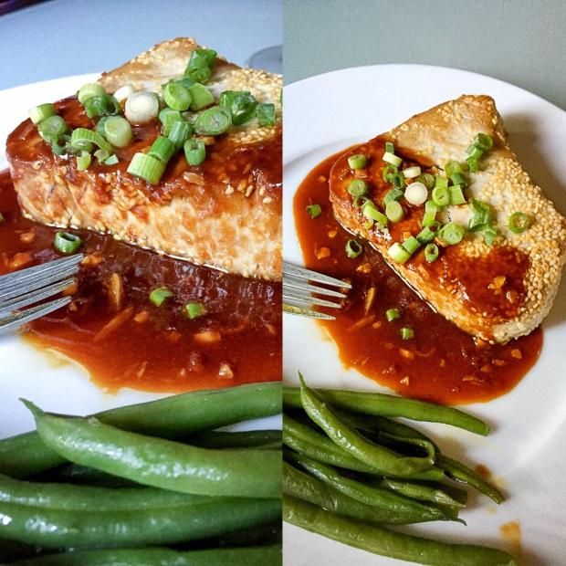 Sesame Encrusted tuna with Asian Sauce