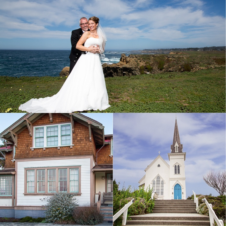 The happy couple (top), The Light Keepers House (bottom left) and the church where the wedding was held (Bottom right)