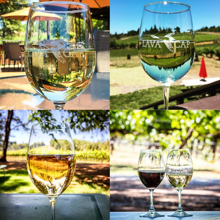 Experimenting with Wine glass art at Lava Cap Winery and Sierra Vista Winery