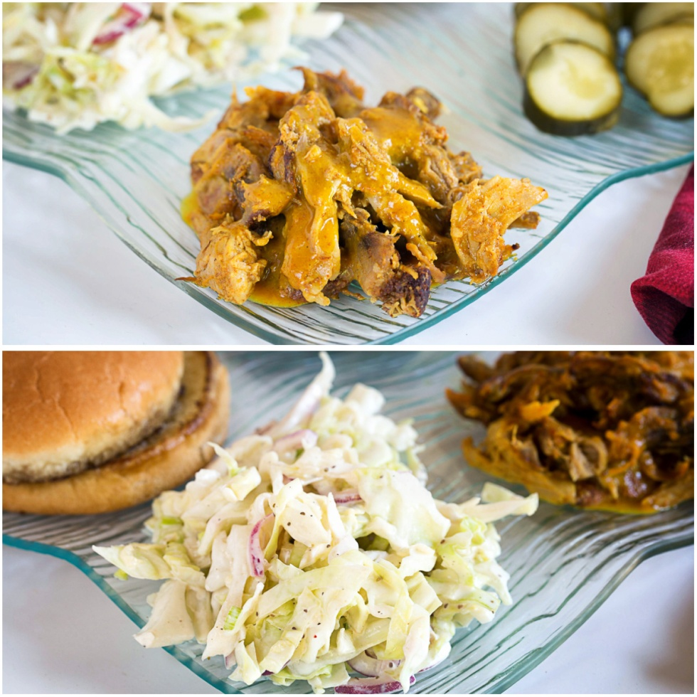 Pulled pork (top) Cold Slaw (bottom)