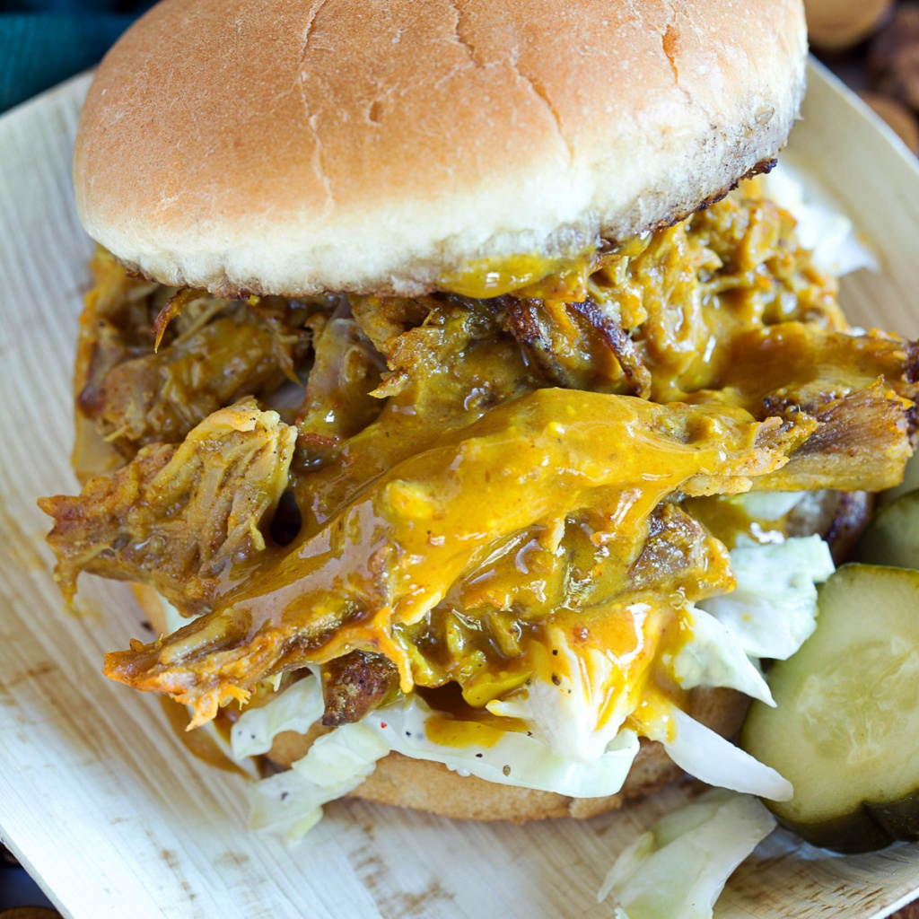 Pulled Pork with pickles and slaw