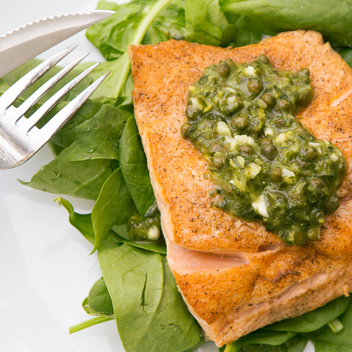 Crispy Salmon With Lemon Basil And Caper Sauce With A