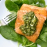 Crispy Salmon with Lemon, Basil and Caper Sauce